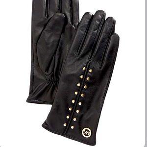 Michael Kors studded genuine leather gloves